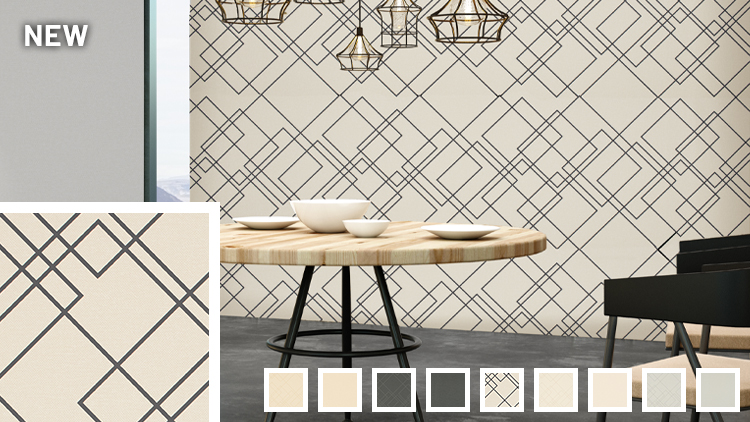 Geometric white with black overlapping squares wallcovering sample links to Up Down information page.