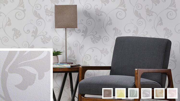 Gray wallcovering sample links to French Scroll information page.