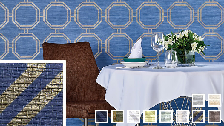 Blue and gold wallcovering sample links to Moroccan Octagon information page.