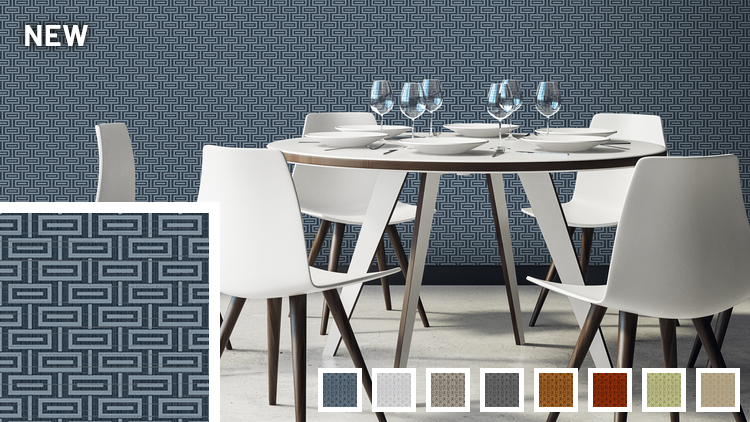 White dining set in front of a wall with a navy Mod wallcovering.